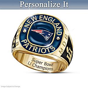 Patriots Super Bowl LI Champions Personalized Men's Ring