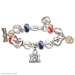 Patriots Super Bowl LI Swarovski Crystal Charm Bracelet
