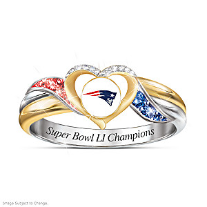 Patriots Super Bowl LI Ring With Team Colored Crystals