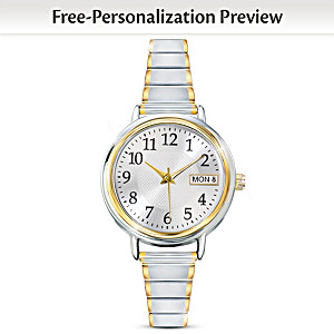 """Classic Daytimer"" Women's Watch With Engraved Initials"