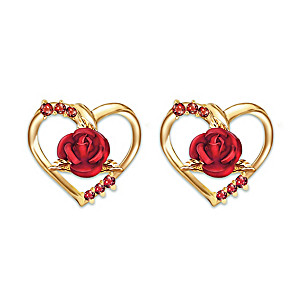 """Forever Yours"" Ruby Earrings With Sculpted Roses"