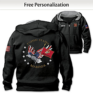 """USMC Pride"" Hoodie Personalized With Embroidered Name"