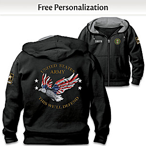 """Army Pride"" Hoodie Personalized With Embroidered Name"