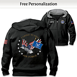 """Air Force Pride"" Hoodie Personalized With Embroidered Name"