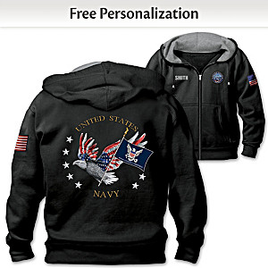 """Navy Pride"" Hoodie Personalized With Embroidered Name"