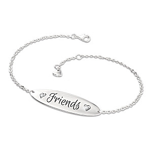 """Forever Friends"" Engraved Diamond Bracelet With Heart Charm"