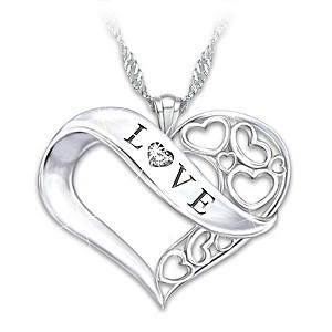 """Love"" Diamond Pendant Necklace For Granddaughter"
