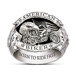 """American Biker"" Men's Sterling Silver-Plated Ring"