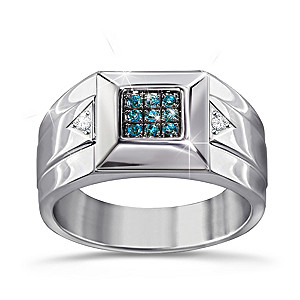 Strength Of Steel Men's Blue And White Diamond Ring