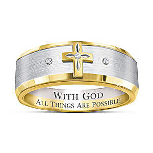 """""""Trinity"""" Men's Diamond Ring With Etched Inscription"""