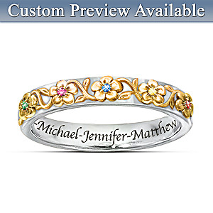 """Family Grows With Love"" Name-Engraved Birthstone Ring"