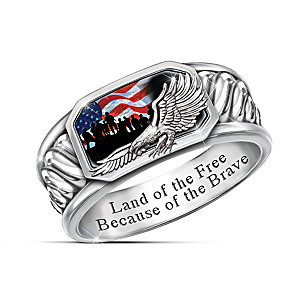 """Freedom Isn't Free"" Men's Silver-Plated Patriotic Ring"