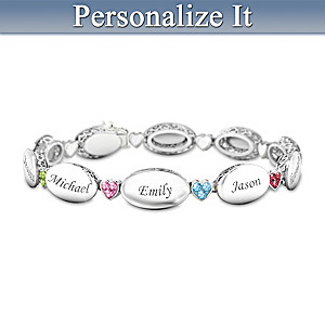 """""""Our Precious Family"""" Bracelet With Birthstones And Names"""