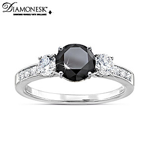 """Black Brilliance"" Diamonesk Women's Ring"