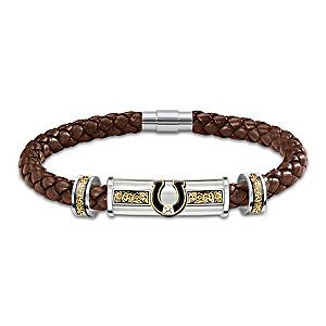 """Western Pride"" Braided Leather Bracelet With White Topaz"