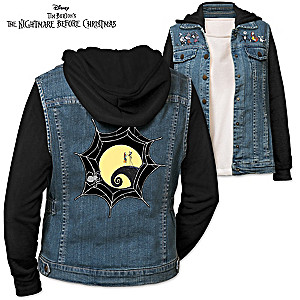 The Nightmare Before Christmas Women's Denim Vested Hoodie