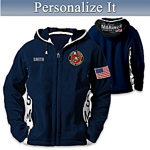 USMC Semper Fi Hooded Fleece Jacket With Embroidered Name