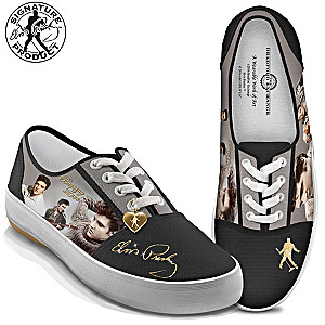 """Burning Love"" Women's Canvas Sneakers With Elvis Portraits"