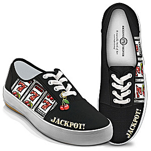 """Hit The Jackpot!"" Women's Canvas Sneakers With Cherry Charm"