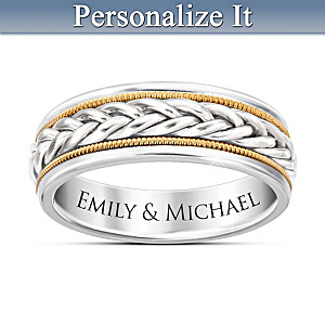"""Strength Of Love"" Men's Ring Engraved With 2 Names"