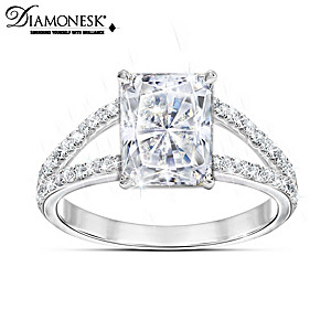 Diamonesk Women's Ring With 7.5 Carat Radiant Centerpiece