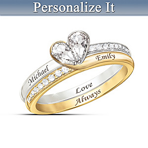 """Love Always"" 2-Band Topaz Heart Ring with 2 Engraved Names"