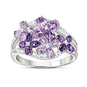"""""""Lilac Blossom"""" Amethyst And White Topaz Ring"""