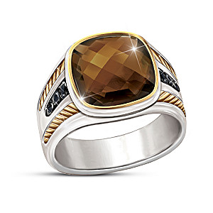 """Single Malt"" Men's Smoky Quartz Gemstone Ring"