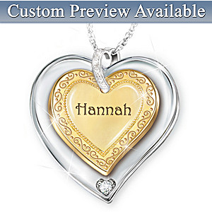 Name-Engraved Heart Pendant Necklace For Granddaughters