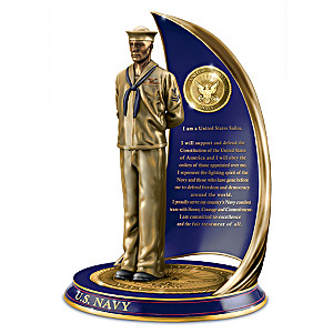 """Navy Spirit"" Cold-Cast Bronze Sculpture With Sailor's Creed"