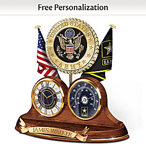 U.S. Army Thermometer Clock With Custom Engraving