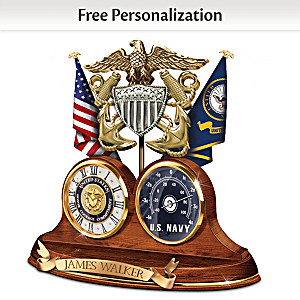 """Navy Values"" Thermometer Clock With Custom Engraving"
