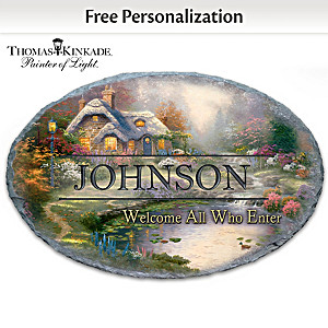 Thomas Kinkade Personalized Family Welcome Sign With Name