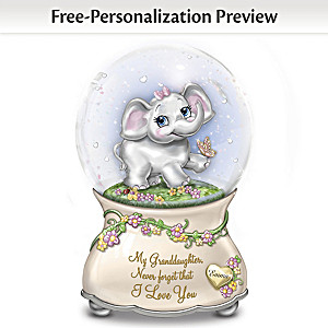 Granddaughter Musical Glitter Globe With Name-Engraved Charm
