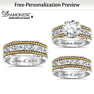 Western His & Hers Personalized Diamonesk Wedding Ring Set