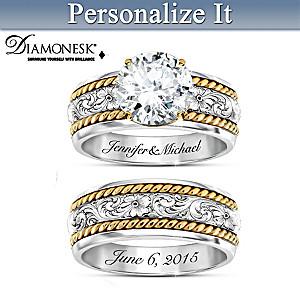 Western Romance Personalized Diamonesk Bridal Ring Set