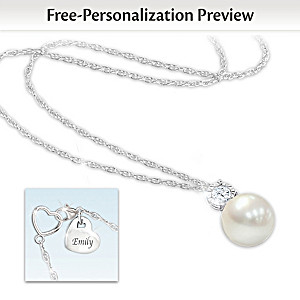 Precious Granddaughter Personalized Cultured Pearl Necklace