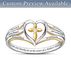 Faith & Family Personalized Diamond Ring With Engraved Names