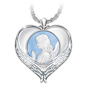 """Forever In My Heart"" Cameo Pendant Necklace With Diamond"