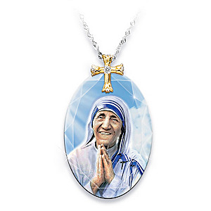 Mother Teresa Crystal Pendant Necklace With Collector's Card