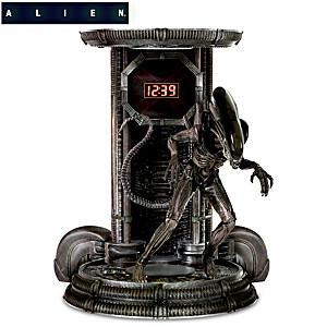 Alien Digital Clock With Sculptural Xenomorph Figure