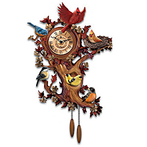 """Treetop Chorus"" Songbird Sculptural Wall Clock"