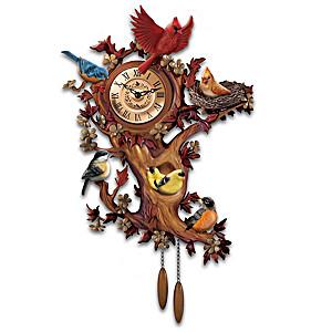 """""""Treetop Chorus"""" Songbird Sculptural Wall Clock"""