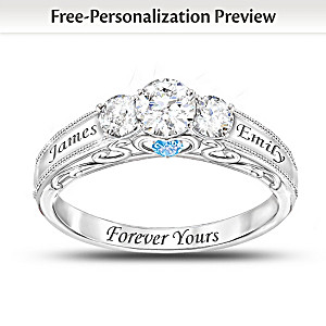 """Forever Yours"" Personalized Topaz And Birthstone Ring"