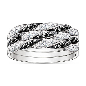 """Day To Night"" Black And White Diamond Stacking Ring"