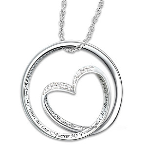 "Granddaughter ""Forever In My Heart"" Diamond Pendant Necklace"