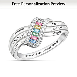 """Forever Family"" Engraved Personalized Birthstone Ring"