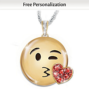 A Message Of Love Personalized Granddaughter Emoji Necklace
