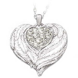 """""""Wings Of Love"""" Engraved Pendant Necklace For Daughters"""