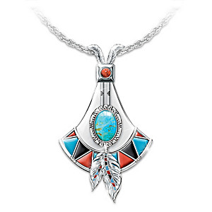 """Genuine Turquoise """"Sacred Stone"""" Pendant Necklace"""